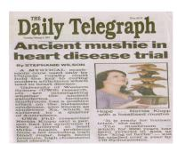 """Ancient mushie in heart disease"" on The Daily Telegraph"
